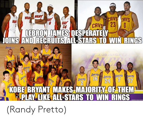 Cavs, Kobe Bryant, and LeBron James: NEA HEAT  CAVS CAVS  EAT  34  CAVSI 231,0  LEBRON JAMES DESPERATELY  JOINS AN DIRECRUITSAIL-STARS TO WIN RINGS  IAKERS  6  AKERS  16  RTAKERS  TAKERS  24 37  KOBE BRYANT MAKES MAJORITY OF THEM  PLAY LIKE ALL STARS TO WIN RINGS (Randy Pretto)