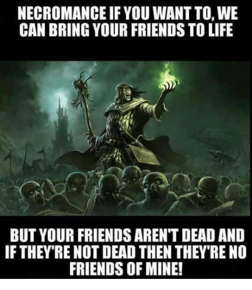Friends, Life, and Memes: NECROMANCE IF YOU WANT TO, WE  CAN BRING YOUR FRIENDS TO LIFE  BUT YOUR FRIENDS ARENT DEAD AND  IF THEY RE NOT DEAD THEN THEY RE NO  FRIENDS OF MINE!