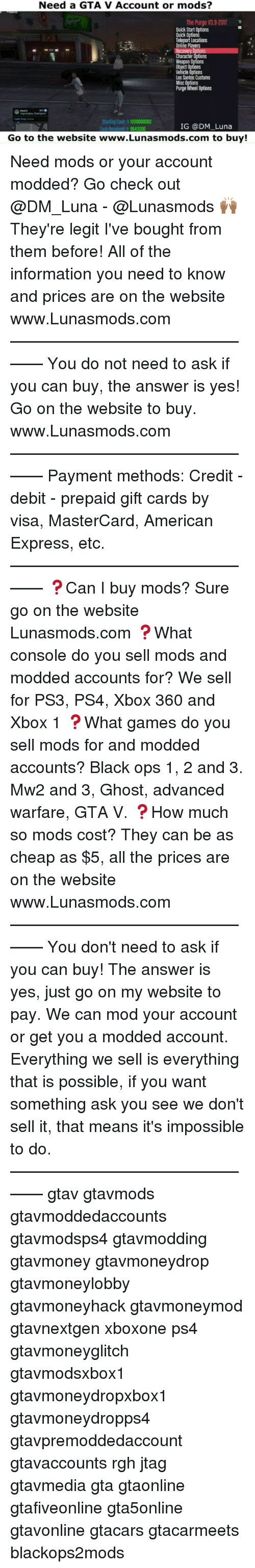 Need a GTA v Account or Mods? The Purge V39-2017 Quick Start Options