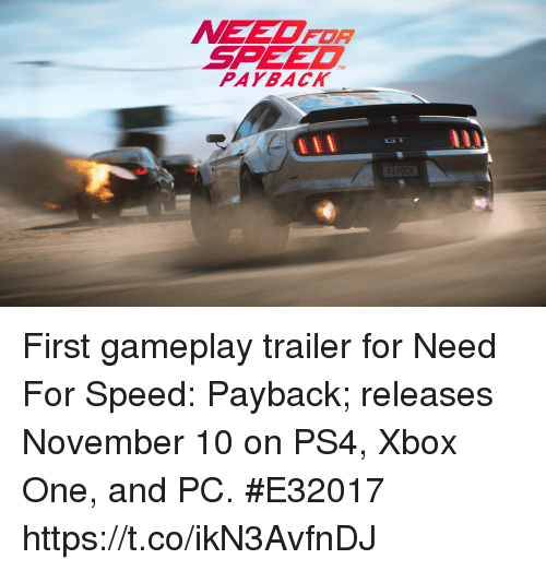need for speed pay back first gameplay trailer for need for speed payback releases november 10. Black Bedroom Furniture Sets. Home Design Ideas