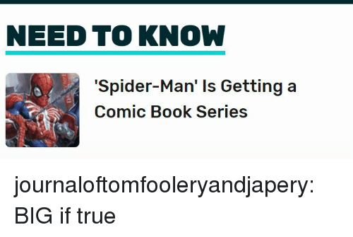 Spider, SpiderMan, and True: NEED TO KNOW  'Spider-Man' Is Getting a  Comic Book Series journaloftomfooleryandjapery:  BIG if true