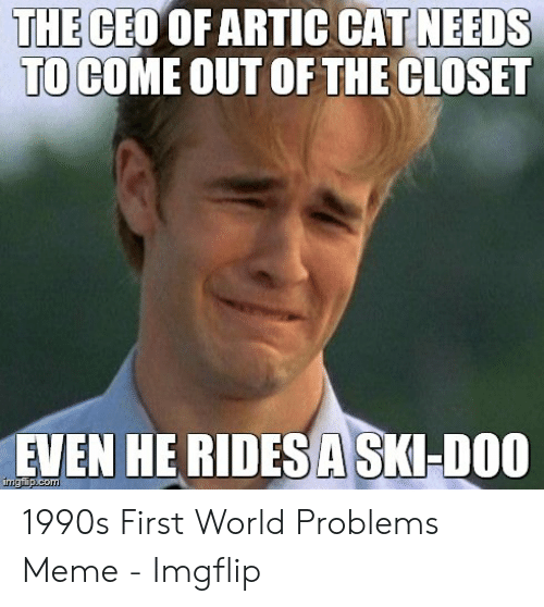 Meme, World, and Cat: NEEDS  THE  CEO OF ARTIC CAT  TO COME OUT OF THE CLOSET  EVEN HE RIDESASKHDOC 1990s First World Problems Meme - Imgflip