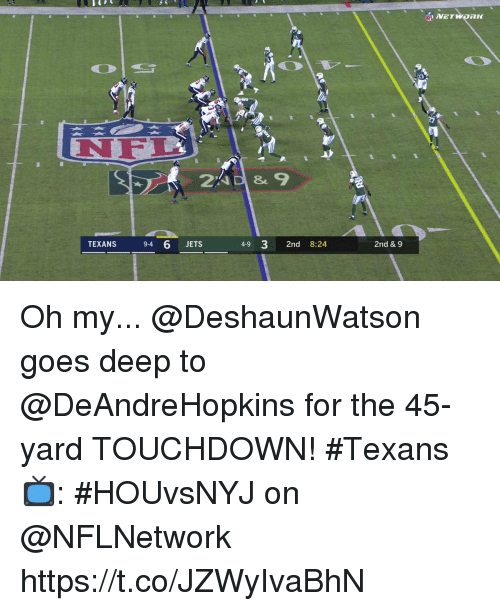 Memes, Jets, and Texans: NEL  TEXANS  94 6 JETS  4-9 3 2nd 8:24  2nd & 9 Oh my...  @DeshaunWatson goes deep to @DeAndreHopkins for the 45-yard TOUCHDOWN! #Texans  📺: #HOUvsNYJ on @NFLNetwork https://t.co/JZWyIvaBhN