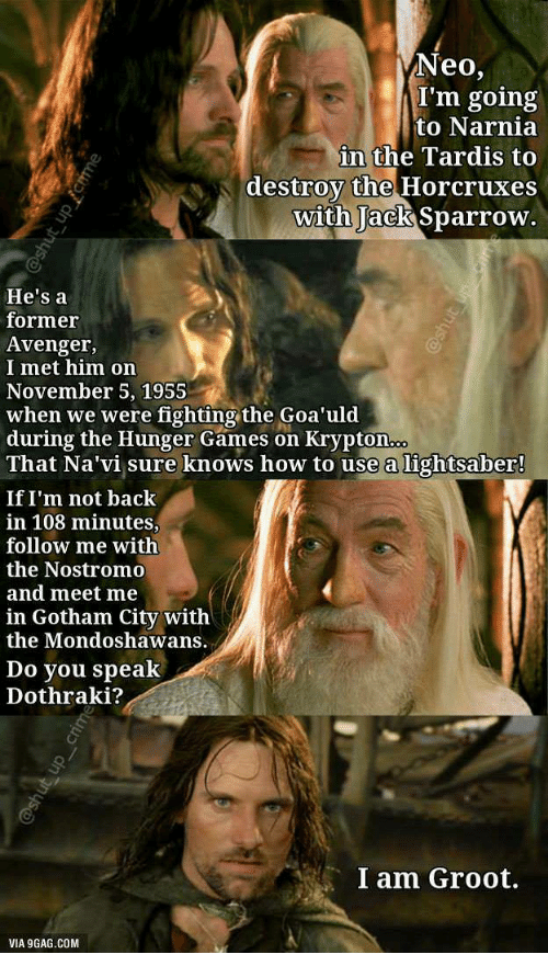 9gag, The Hunger Games, and Lightsaber: Neo,  I'm going  to Narnia  in the Tardis to  destroy the Horcruxes  with Jack Sparrow.  He's a  former  Avenger,  I met him on  November 5, 1955  when we were fighting the Goa'uld  during the Hunger Games on Krypton  That Na'vi sure knows how to use a lightsaber!  If I'm not back  in 108 minutes,  follow me with  the Nostromo  and meet me  in Gotham City witlh  the Mondoshawans.  Do you speak  Dothraki?  I am Groot.  VIA 9GAG.COM