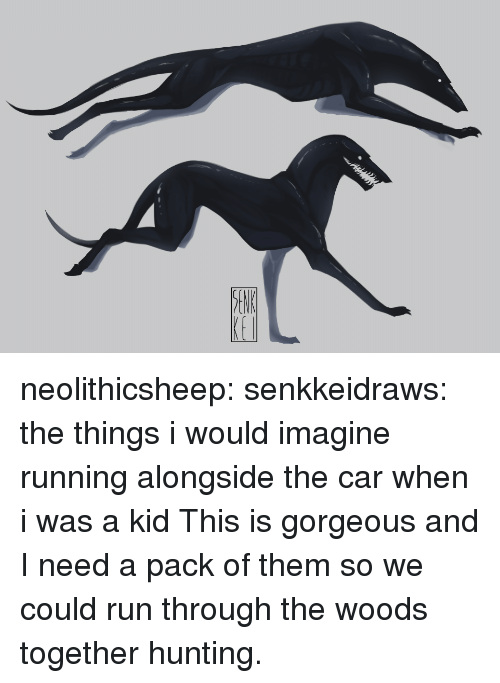 Run, Tumblr, and Hunting: neolithicsheep:  senkkeidraws: the things i would imagine running alongside the car when i was a kid  This is gorgeous and I need a pack of them so we could run through the woods together hunting.