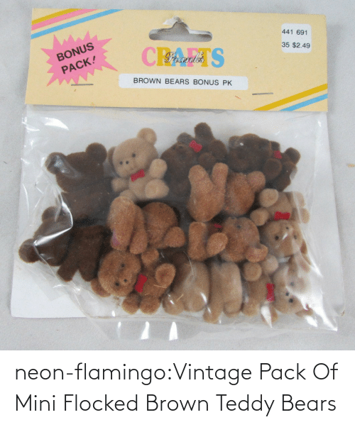 Party, Target, and Tumblr: neon-flamingo:Vintage Pack Of Mini Flocked Brown Teddy Bears