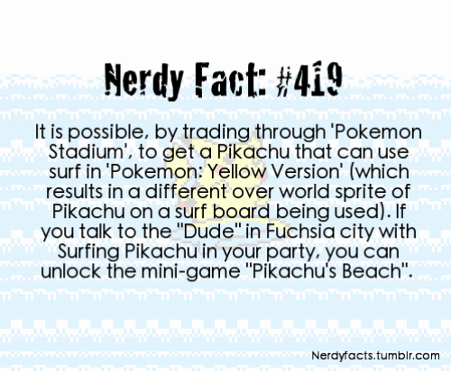 a415a545 Nerdy Fact #419 It Is Possible by Trading Through Pokemon Stadium to ...