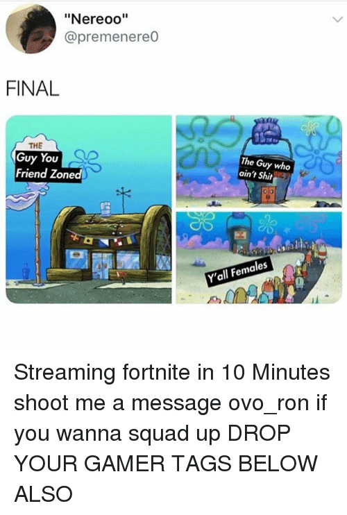 "Memes, Shit, and Squad: ""Nereoo""  @premenereO  FINAL  THE  Guy You  Friend Zoned  The Guy who  ain't Shit  Y'all Females Streaming fortnite in 10 Minutes shoot me a message ovo_ron if you wanna squad up DROP YOUR GAMER TAGS BELOW ALSO"