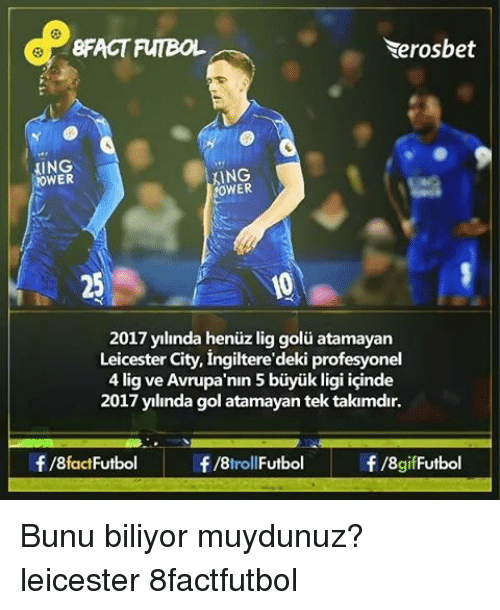 Memes, Leicester City, and 🤖: Neros bet 8FACT FUTBOL ING KING NOWER 2017