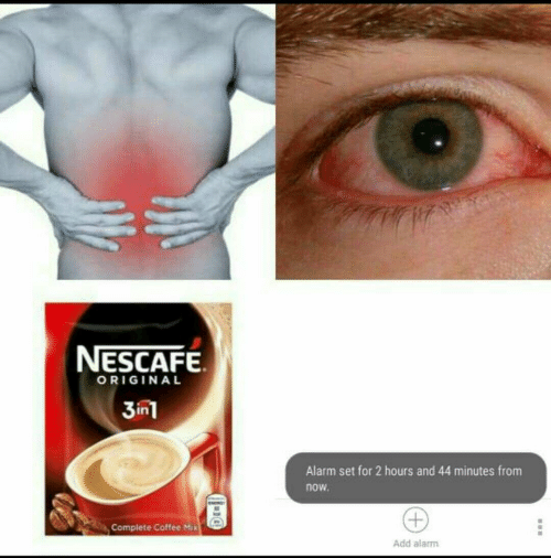Alarm, Coffee, and Add: NESCAFE  ORIGINAL  in  Alarm set for 2 hours and 44 minutes from  now  Complete Coffee Mix  Add alarm
