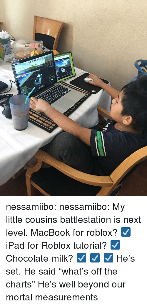 "Ipad, Tumblr, and Blog: nessamiibo:  nessamiibo:   My little cousins battlestation is next level. MacBook for roblox? ☑️ iPad for Roblox tutorial? ☑️ Chocolate milk? ☑️ ☑️ ☑️  He's set.   He said ""what's off the charts"" He's well beyond our mortal measurements"