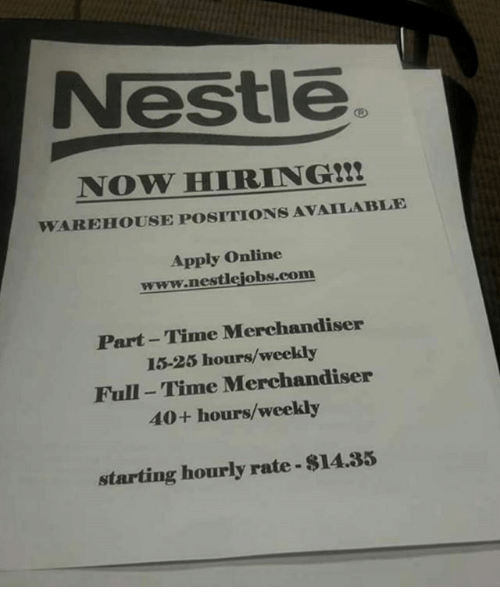 nestle now hiringtzte warehouse positions available apply online wwwnestlejobscom part time. Black Bedroom Furniture Sets. Home Design Ideas