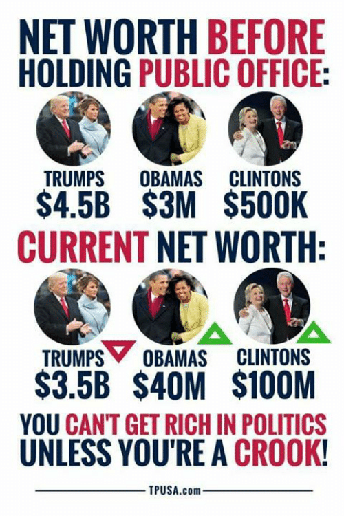Memes, Politics, and Office: NET WORTH BEFORE  HOLDING PUBLIC OFFICE:  TRUMPS OBAMAS CLINTONS  S4.5B $3M $500K  CURRENT NET WORTH  TRUMPS OBAMAS CLINTONS  $3.5B $4OM $100M  YOU CANT GET RICH IN POLITICS  UNLESS YOU'RE A CROOK!  TPUSA.com