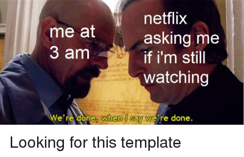 Netflix, Asking, and Looking: netflix  asking me  if i'm still  watching  me at  3 am  We're done, when Isay we're done.