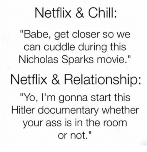 """Ass, Chill, and Dank: Netflix & Chill:  """"Babe, get closer so we  can cuddle during this  Nicholas Sparks movie  Netflix & Relationship:  """"Yo, I'm gonna start this  Hitler documentary whether  your ass is in the room  or not."""""""