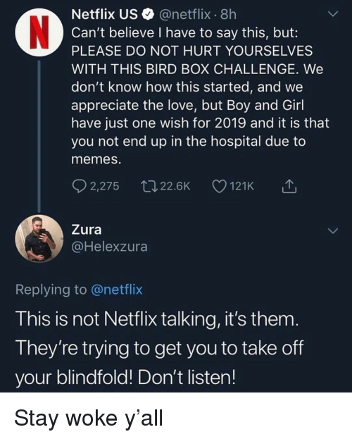 Love, Memes, and Netflix: Netflix US @netflix 8h  Can't believe I have to say this, but:  PLEASE DO NOT HURT YOURSELVES  WITH THIS BIRD BOX CHALLENGE. We  don't know how this started, and we  appreciate the love, but Boy and Girl  have just one wish for 2019 and it is that  you not end up in the hospital due to  memes.  2,275 22.6K 121K △  Zura  @Helexzura  Replying to @netflix  This is not Netflix talking, it's them  They're trying to get you to take off  your blindfold! Don't listen! Stay woke y'all