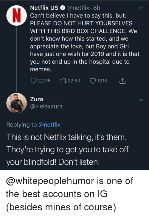 Funny, Love, and Memes: Netflix US@netflix 8h  Can't believe I have to say this, but:  PLEASE DO NOT HURT YOURSELVES  WITH THIS BIRD BOX CHALLENGE. We  don't know how this started, and we  appreciate the love, but Boy and Girl  have just one wish for 2019 and it is that  you not end up in the hospital due to  memes.  2,275 22.6K 121K  Zura  @Helexzura  Replying to @netflix  This is not Netflix talking, it's them  They're trying to get you to take off  your blindfold! Don't listen! @whitepeoplehumor is one of the best accounts on IG (besides mines of course)