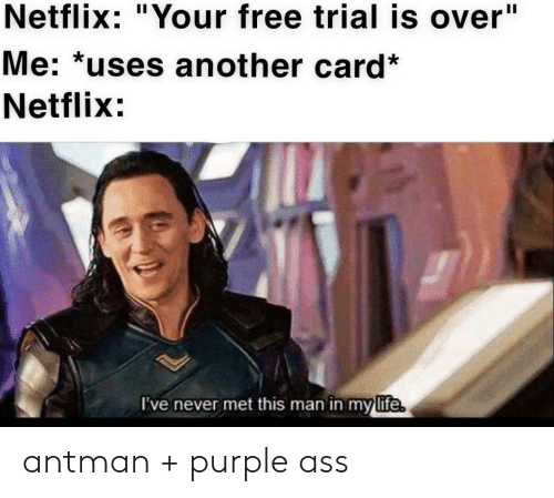 "Ass, Life, and Netflix: Netflix: ""Your free trial is over""  Me: *uses another card*  Netflix:  I've never met this man in my  life antman + purple ass"