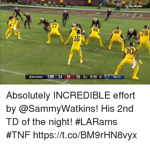 Memes, 🤖, and Network: NETWORK  72  68  79  16  30  iiblAErwaRK TAR   34 SFI 26 4TH 8:50 07レアー  3RD &4 Absolutely INCREDIBLE effort by @SammyWatkins!  His 2nd TD of the night! #LARams #TNF https://t.co/BM9rHN8vyx