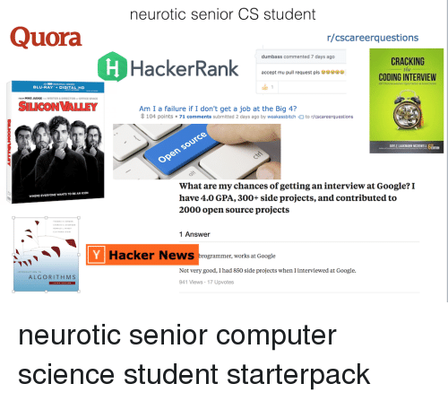 Neurotic Senior CS Student Quora Rcscareerquestions Dumbass