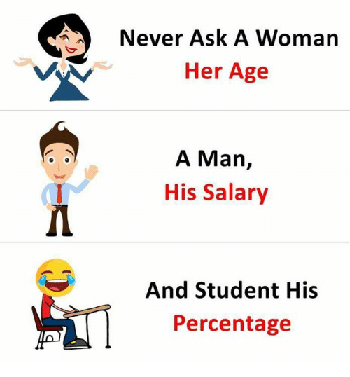 Memes, Never, and 🤖: Never Ask A Woman  Her Age  A Man,  His Salary  1  And Student His  Percentage