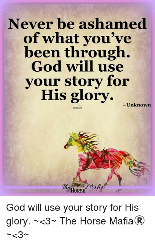 God, Memes, and Horse: Never be ashamed  of what you've  been through.  God will use  vour story for  His glory. Uokanowm  HORS God will use your story for His glory. ~<3~ The Horse Mafia® ~<3~