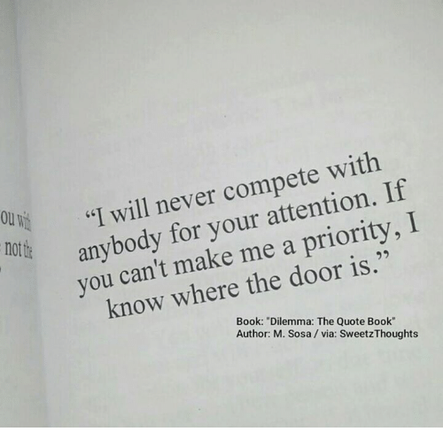 Never Compete With if I Will Your I for Me a Priority You ...