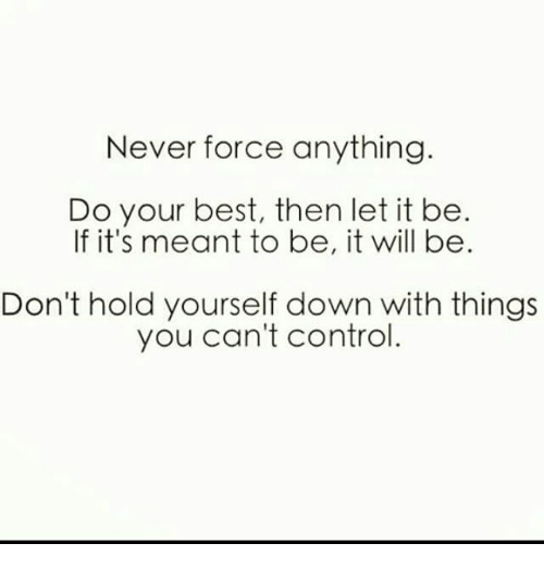 Never Force Anything Do Your Best Then Let It Be if It's Meant to Be It  Will Be Don't Hold Yourself Down With Things You Can't Control | Meme on  ME.ME