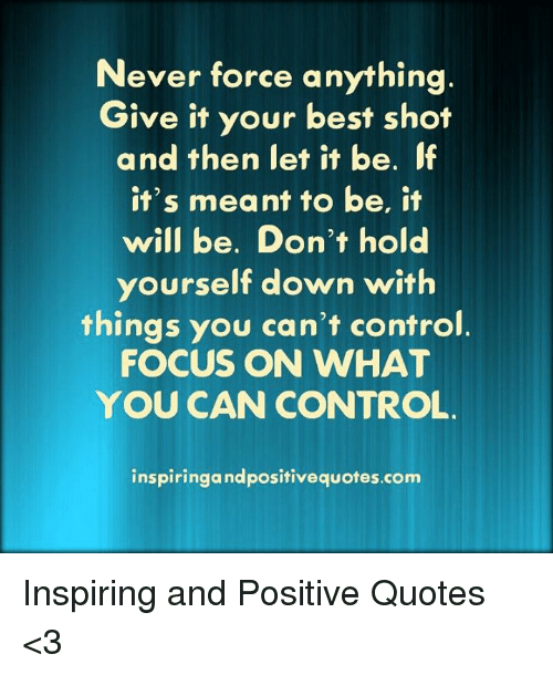 Focus On What You Can Control Quotes: Never Force Anything Give It Your Best Shot And Then Let
