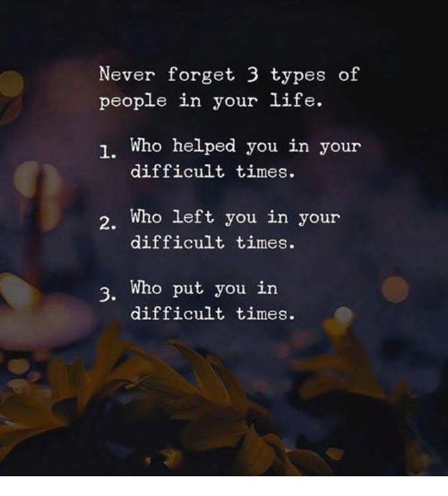 Life, Never, and Who: Never forget 3 types of  people in your life.  1. Who helped you in your  difficult times.  2. Who left you in your  difficult times.  3. Who put you in  difficult times.