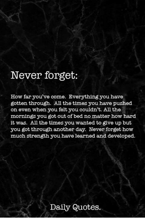 Never Forget How Far Youve Come Everything You Have Gotten Through