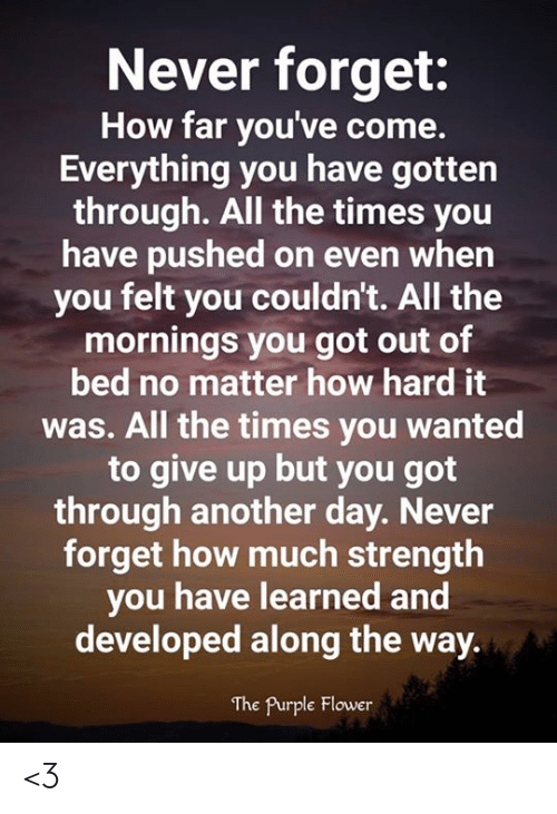 Memes, Flower, and Purple: Never forget:  How far you've come.  Everything you have gotten  through. All the times you  have pushed on even when  you felt you couldn't. All the  mornings you got out of  bed no matter how hard it  was. All the times you wanted  to give up but you got  through another day. Never  forget how much strength  you have learned and  developed along the way.  The Purple Flower <3