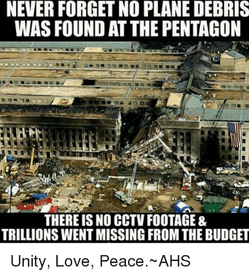 NEVER FORGET NO PLANE DEBRIS WAS FOUND ATTHE PENTAGON THERE IS NO