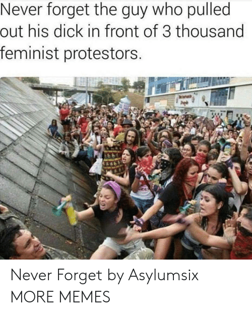 Dank, Memes, and Target: Never forget the guy who pulled  out his dick in front of 3 thousand  feminist protestors Never Forget by Asylumsix MORE MEMES