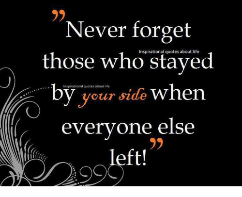 Never Forget Those Who Quotes About Life Inspirational Your Side Simple Life Inspirational Quotes