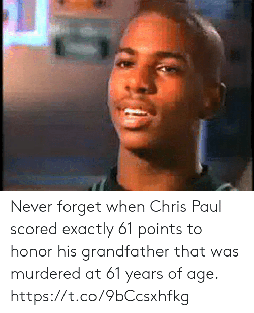 Chris Paul, Memes, and Never: Never forget when Chris Paul scored exactly 61 points to honor his grandfather that was murdered at 61 years of age. https://t.co/9bCcsxhfkg
