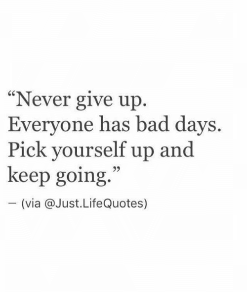 Never Give Up Everyone Has Bad Days Pick Yourself Up And Keep Going