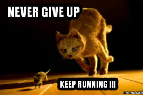 I Give Up Meme: NEVER GIVE UP KEEP RUNNING Memes