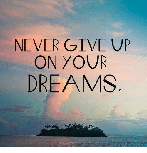 Dreams, Never, and  Give Up: NEVER GIVE UP  ON YOUR  DREAMS