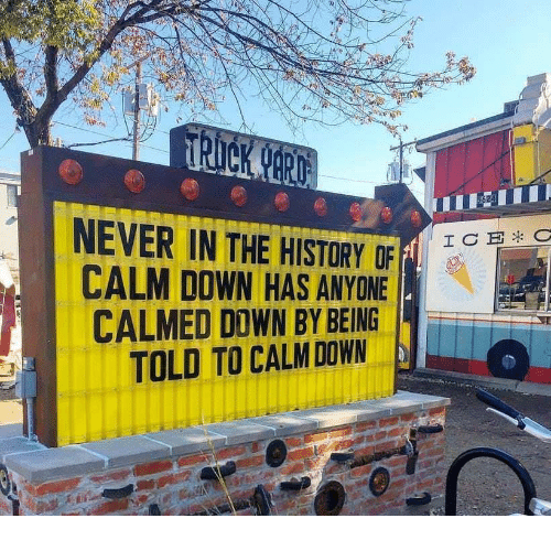 History, Never, and Down: NEVER IN THE HISTORY OF F  CALM DOWN HAS ANYONE  CALMED DOWN BY BEING  TOLD TO CALM DOWN