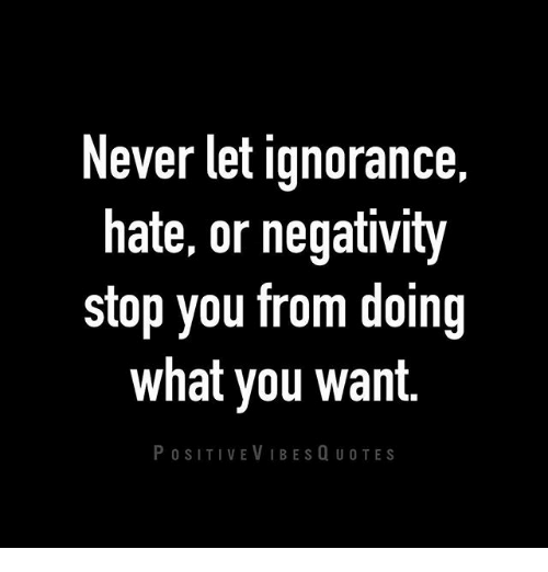 Never Let Ignorance Hate Or Negativity Stop You From Doing What You