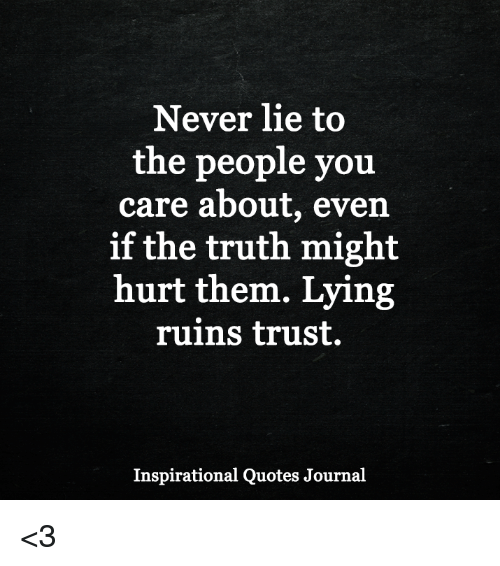 Quotes About People Who Lie: Never Lie To The People You Care About Even If The Truth