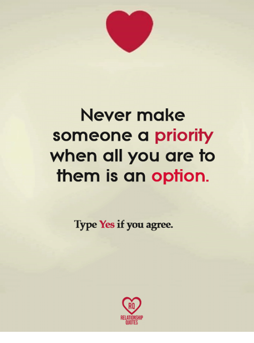 Never Make Someone A Priority When All You Are To Them Is An Option