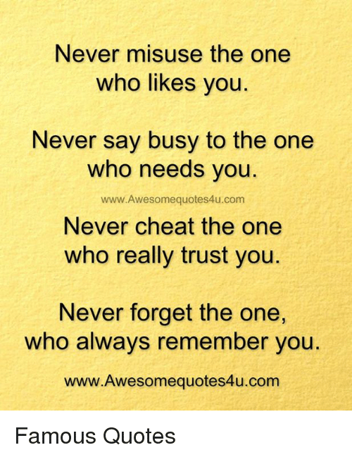 Never Misuse the One Who Likes You Never Say Busy to the One Who