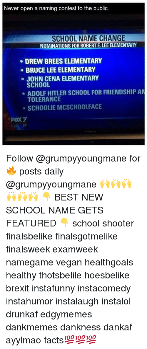 Facts, John Cena, and School: Never open a naming contest to the public  SCHOOL NAME CHANGE  NOMINATIONS FOR ROBERTELEE ELEMENTARY  DREW BREESELEMENTARY  BRUCE LEE ELEMENTARY  JOHN CENA ELEMENTARY  SCHOOL  ADOLF HITLER SCHOOL FOR FRIENDSHIP AN  TOLERANCE  SCHOOLIE MCSCHOOLFACE  FOX7  80 Follow @grumpyyoungmane for 🔥 posts daily @grumpyyoungmane 🙌🙌🙌🙌🙌🙌 👇 BEST NEW SCHOOL NAME GETS FEATURED 👇 school shooter finalsbelike finalsgotmelike finalsweek examweek namegame vegan healthgoals healthy thotsbelile hoesbelike brexit instafunny instacomedy instahumor instalaugh instalol drunkaf edgymemes dankmemes dankness dankaf ayylmao facts💯💯💯