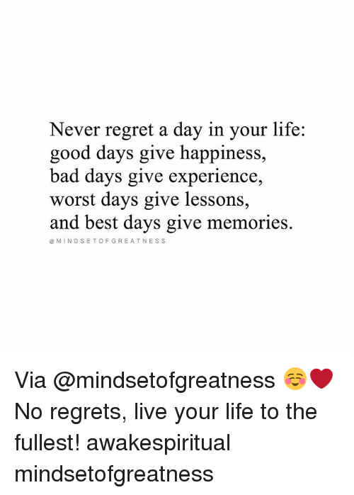 Bad, Life, and Memes: Never regret a day in your life:  good days give happiness,  bad days give experience,  worst days give lessons  and best days give memories.  MINDSETOFGREATNESS Via @mindsetofgreatness ☺❤ No regrets, live your life to the fullest! awakespiritual mindsetofgreatness