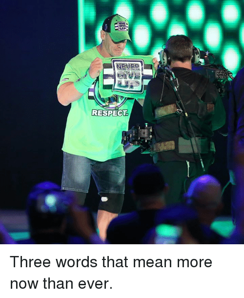 Respect, Mean, and Never: NEVER  RESPECT Three words that mean more now than ever.