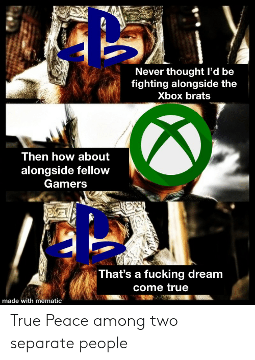 Fucking, True, and Xbox: Never thought l'd be  fighting alongside the  Xbox brats  Then how about  alongside fellow  Gamers  That's a fucking dream  come true  made with mematic True Peace among two separate people