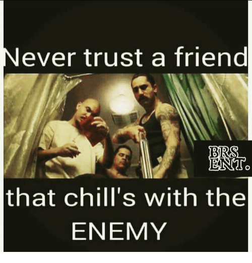 Never Trust A Friend That Chills With The Enemy Meme On Meme