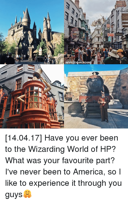 America, Memes, and World: NEVILLESCARDIGAN [14.04.17] Have you ever been to the Wizarding World of HP? What was your favourite part? I've never been to America, so I like to experience it through you guys🤗